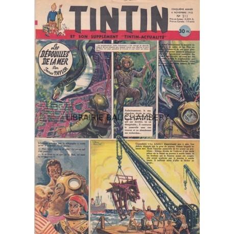 """Tintin et son supplément """"Tintin-actualité"""", cinquième année, n° 211"""