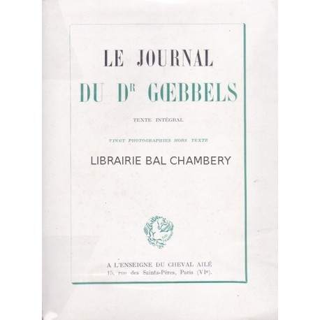 Le journal du Dr Goebbels