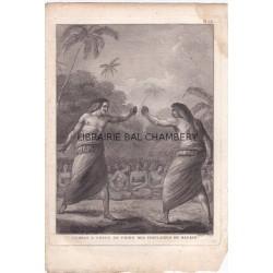 """Gravure n° 15 -""""  Combat à coups de poing des insulaires de Hapaee """" - A Voyage to the Pacific Ocean [Third Voyage]"""