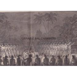 """Gravure n° 16 -""""  Danse de nuit exécutée par les hommes de Hapaee """" - A Voyage to the Pacific Ocean [Third Voyage]"""