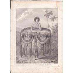 """Gravure n° 27 -""""  Jeune femme de O'Taiti apportant un présent  """" - A Voyage to the Pacific Ocean [Third Voyage]"""