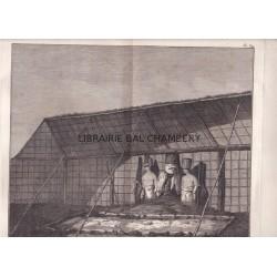 """Gravure n° 34 - """"  Intérieur d'un morais d'Atooi """" - A Voyage to the Pacific Ocean [Third Voyage]"""