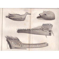 """Gravure n° 40 - """" Divers ouvrages des habitans de l'entrée de Nootka """" - A Voyage to the Pacific Ocean [Third Voyage]"""