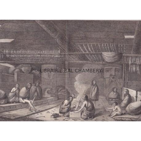"""Gravure n° 42 - """" Vue de l'intérieur d'une maison de l'entrée de Nootka """" - A Voyage to the Pacific Ocean [Third Voyage]"""
