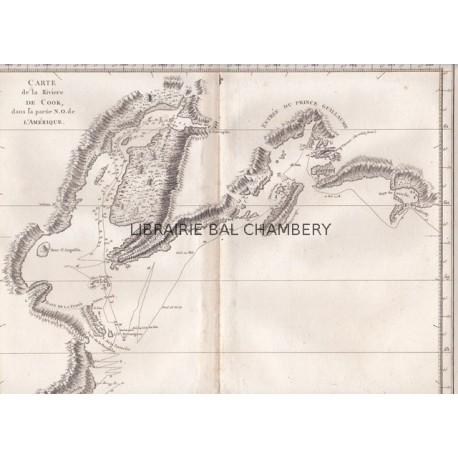 """Gravure n° 44 - """" Carte de la rivière de Cook, dans la partie N.O. de l'Amérique"""" - A Voyage to the Pacific Ocean [Third Voyage]"""