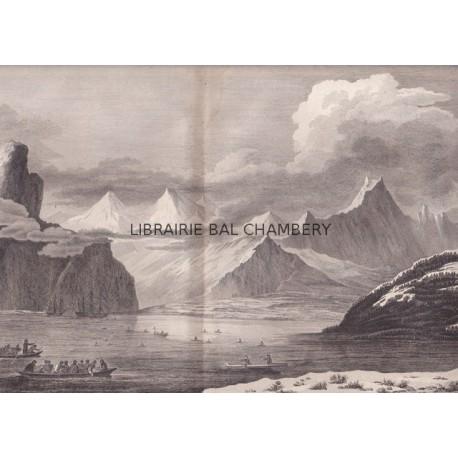 """Gravure n° 45 - """" Vue de l'anse fermée de l'entrée du Prince Guillaume """" - A Voyage to the Pacific Ocean [Third Voyage]"""