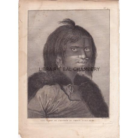"""Gravure n° 47 - """" Une femme de l'entrée du Prince Guillaume """" - A Voyage to the Pacific Ocean [Third Voyage]"""