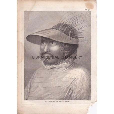 "Gravure n° 48 - "" Un homme de Oonalaskha "" - A Voyage to the Pacific Ocean [Third Voyage]"