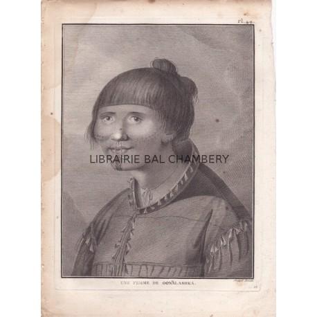 """Gravure n° 49 - """" Une femme de Oonalaskha """" - A Voyage to the Pacific Ocean [Third Voyage]"""