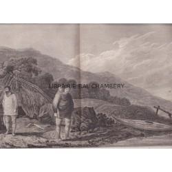 """Gravure n° 54 - """" Habitans et habitations de l'entrée de Norton """" - A Voyage to the Pacific Ocean [Third Voyage]"""
