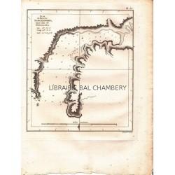 """Gravure n° 55 - """" Plan du Havre de Samganoodha dans l'Isle de Oonalaska """" - A Voyage to the Pacific Ocean [Third Voyage]"""
