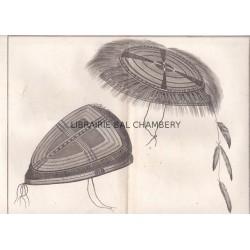 "Gravure n° 56 - "" Chapeaux des Naturels d'Oonalashka "" - A Voyage to the Pacific Ocean [Third Voyage]"