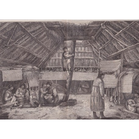 """Gravure n° 58 - """" Intérieur d'une maison de Oonalashka """" - A Voyage to the Pacific Ocean [Third Voyage]"""