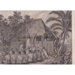 "Gravure n° 60 - "" Offrandes faites au Capitaine Cook, aux Isles Sandwich "" - A Voyage to the Pacific Ocean [Third Voyage]"