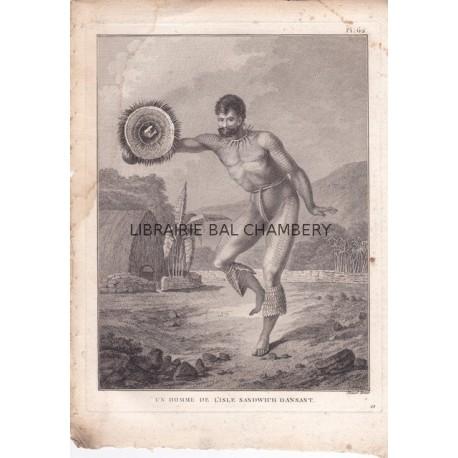 """Gravure n° 62 - """" Homme de l'isle Sandwich dansant"""" - A Voyage to the Pacific Ocean [Third Voyage]"""