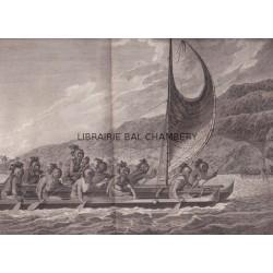 """Gravure n° 65 - """" Pirogue des isles Sandwich, avec les rameurs masqués """" - A Voyage to the Pacific Ocean [Third Voyage]"""