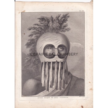 """Gravure n° 66 - """" Homme masqué de l'isle Sandwich """" - A Voyage to the Pacific Ocean [Third Voyage]"""