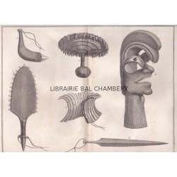"""Gravure n° 67 - """" Divers ouvrages des habitans de l'isle Sandwich """" - A Voyage to the Pacific Ocean [Third Voyage]"""