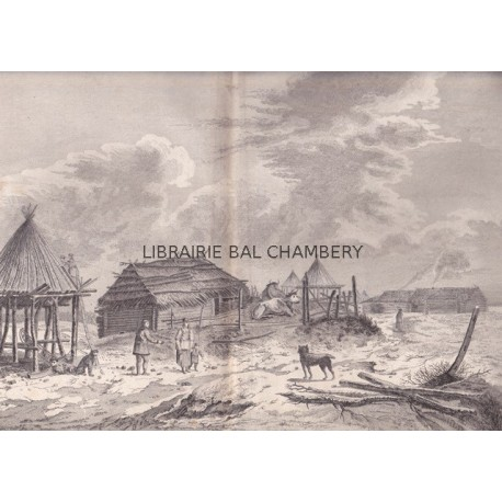 "Gravure n° 72 - "" Vue de Bolcheretzkoi bourgade du Kamtchatka  "" - A Voyage to the Pacific Ocean [Third Voyage]"