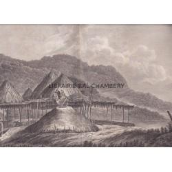 """Gravure n° 77 - """" Habitations d'été et d'hiver au Kamtchatka  """" - A Voyage to the Pacific Ocean [Third Voyage]"""