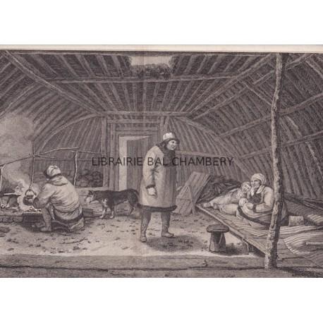 """Gravure n° 78 - """" Intérieur d'une habitation d'hiver du Kamtchatka  """" - A Voyage to the Pacific Ocean [Third Voyage]"""
