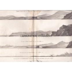 """Gravure n° 82 - """"Trois vues de la pointe Arquée, Terre de Kerguelen"""" - A Voyage to the Pacific Ocean [Third Voyage]"""