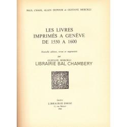 Les livres imprimés à Genève de 1550 à 1600