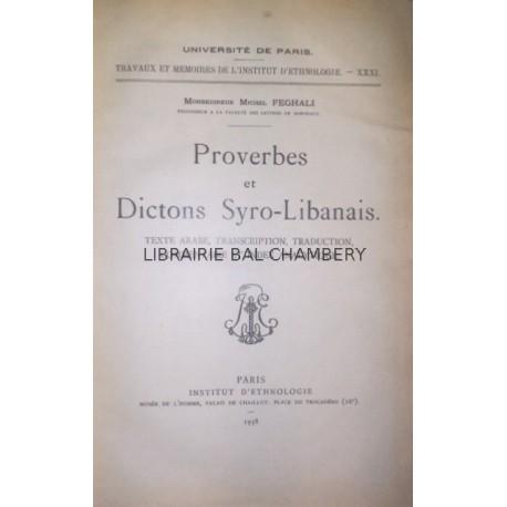 Proverbes et Dictons Syro-Libanais