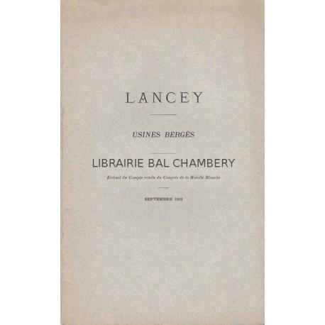 LANCEY  Usines Bergès  Extrait du Compte rendu du Congrès de la Houille Blanche  Sept. 1902